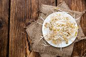 foto of soybean sprouts  - Bowl with Mungbean Sprouts on wooden background - JPG