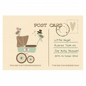 stock photo of baby animal  - Vintage cute baby shower greeting postcard invitation with baby carriage and birds hand drawn vector illustration background - JPG