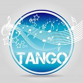 picture of tango  - Stamp Tango with music notes in blue - JPG