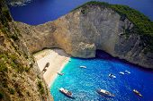 stock photo of greek  - Aerial view of the most beautiful beach in Zakynthos island  - JPG
