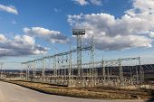 pic of electricity pylon  - Structure of electrical pylons electricity distribution station and nature - JPG