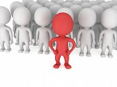 stock photo of leader  - Brave red leader before a crowd before a white crowd - JPG