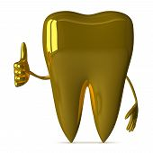 stock photo of gold tooth  - Golden tooth character giving thumb up isolated on white background front view - JPG