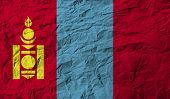 stock photo of mongol  - Flag of Mongolia with old texture - JPG