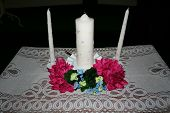 stock photo of unity candle  - Wedding unity candle setup - JPG