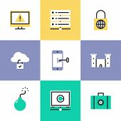 foto of safety  - Flat line icons of cloud data protection system database security information computer safety access mobile phone key lock - JPG