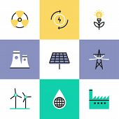 stock photo of power transmission lines  - Flat line icons of global production of renewable energy green power saving efficiency solar panel and atomic power plant - JPG