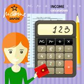 picture of economy  - Income calculation concept - JPG