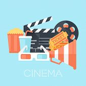 stock photo of popcorn  - Cinema Poster with 3D Glass Megaphone Tickets Bobbin Clapper Board Popcorn and Drink - JPG