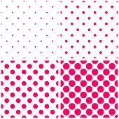 stock photo of dots  - Tile vector pattern set with pink polka dots on white background for seamless decoration wallpaper - JPG
