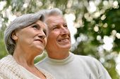 image of elderly  - Portrait of a happy elder couple in summer - JPG