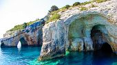 picture of cave  - Famous blue caves view on Zakynthos island (Greece) ** Note: Soft Focus at 100%, best at smaller sizes - JPG