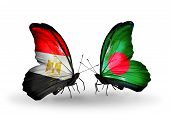 foto of bangladesh  - Two butterflies with flags on wings as symbol of relations Egypt and Bangladesh - JPG