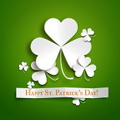 picture of saint patrick  - Saint Patricks day greeting vector card realistic paper shamrock leaves - JPG