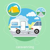 stock photo of caravan  - Caravaning on the road near the tree - JPG