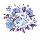 picture of blue rose  - Blue Gentle Vintage Floral Greeting Card with Blooming Jasmine - JPG