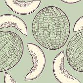 stock photo of muskmelon  - Outline stylized seamless pattern with melon in vector - JPG
