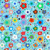 stock photo of daisy flower  - Vector seamless floral pattern in bright multiple colors - JPG
