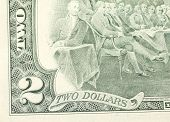 picture of two dollar bill  - Close up of american two dollar bill - JPG