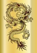 picture of dragon  - vector illustration Chinese dragon on a gold background - JPG