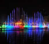 stock photo of fountains  - Evening Musical fountain show - JPG