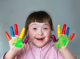 pic of messy  - Cute little girl with painted hands - JPG