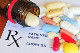 stock photo of overdose  - Close up photo of prescription pills with shallow depth of field - JPG