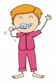 picture of pajamas  - Boy in pink pajamas brushing teeth - JPG