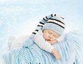 pic of born  - Baby New Born Hat Costume Newborn Kid Sleeping on Blue blanket Infant Six Months Dream - JPG