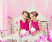 image of congratulation  - Girls Birthday Little Kids in Retro Pink Dress with Present Gift Box Children Artists Congratulation - JPG