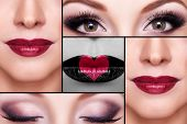 pic of  lips  - Make up collage of eyebrows eyelashes and lips - JPG