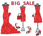 pic of composition  - Composition of the three females red coctail dresses with high heel shoes - JPG