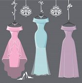 picture of composition  - The composition of  three bridesmaid dresses with long skirt - JPG