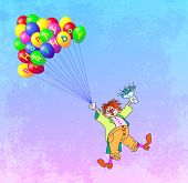 stock photo of clown face  - birthday greeting card with clown vector illustration - JPG