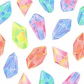 picture of gem  - Watercolor gem seamless pattern on white background - JPG