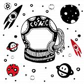 picture of cosmic  - Doodle astronomical objects set - JPG