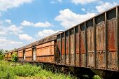 picture of train track  - An old abandoned railroad train on tracks - JPG