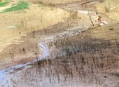picture of hot water  - Hot summer water source exhaustion bottom of lake became drought land water security is environment problem of global change climate make disaster - JPG