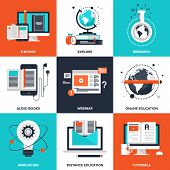 pic of online education  - Vector set of flat e - JPG