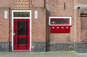 image of mailbox  - Door and Mailbox outside apartment building in Amsterdam Netherlands - JPG