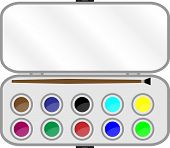 foto of paint palette  - Set of paints with brush in box - JPG