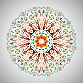 picture of aztec  - Ornamental round colorful geometric pattern in aztec style - JPG