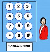 stock photo of win  - Business cartoon businesswoman and the word  - JPG