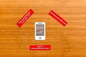 picture of query  - Mobile notification and query on the wooden background - JPG