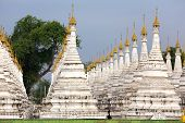 stock photo of muni  - The large stupa forest of the Sandamuni Paya pagoda in Mandalay - JPG
