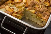 picture of oven  - Apple cake in the rectangular steel oven - JPG