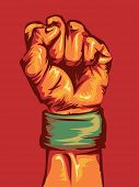 picture of clenched fist  - Cropped Illustration of a Fist Wearing a Wristband Clenched Tight - JPG
