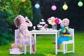 pic of little young child children girl toddler  - Garden birthday party for children - JPG