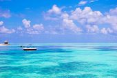 picture of deserted island  - Perfect white beach with turquoise water at ideal island - JPG