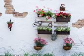 foto of wooden pallet  - White storage industrial pallet used in gardening for a wall decoration as a shelf for flowerpots and other objects - JPG